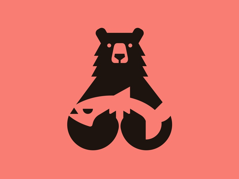 Bear Hands brown negative red pink food forest salmon fish bear animal logo