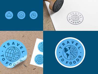 Travel to Foods emoji smile hotel icons sticker circle blue slice pizza passport stamp blog food travel globe emblem seal logo