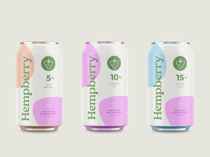 Hempberry CBD Drinks natural berry calm canabis marijuana weed flavor fruit can packaging health wellness beverage drink cbd hemp logo