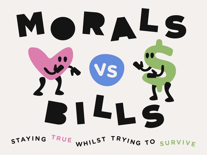 Briefbox Blog > Morals vs Bills character experience illustration box fight dollar bill heart moral passion interview blog