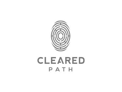Cleared Path intelligent logo fingerprint job initials line board round circular security maze tech