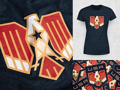 USA Eagle T-shirt american usa shop store sticker t shirt stripes freedom symbol national eagle bird animal logo
