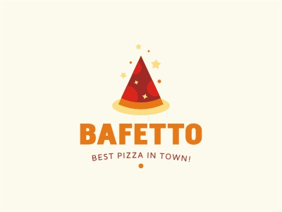 Bafetto logo food pizza wizard hat star orange red beige cone