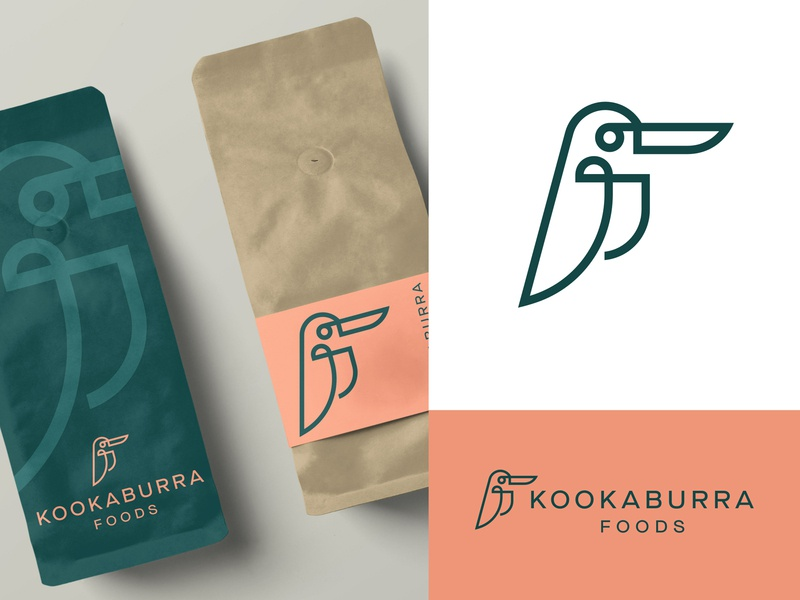 Kooka Foods authentic australia export environment green packaging monoline line food kookaburra bird logo animal