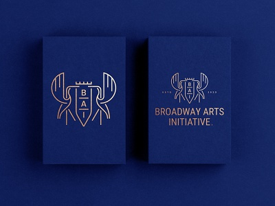 B A I stationery business card luxury seal perform acting dance beauty monoline wings heron crane bird animal crest shield initiative art broadway logo