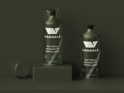 Vandalz Pack natural safe guard grass nature olive metallic cool mosquito insect repellent aerosol spray can packaging vandal