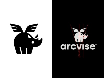 Arcvise grid tech it baby wings flying rhino animal logo