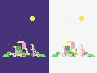 Night & Day in Playville nature kids colorful pattern illustration roof shadow sun moon hill house village town play day night poster
