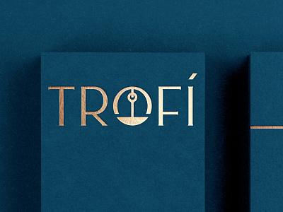 Trofí Restaurant elegant shadow window plate canada greek restaurant hanger food lettering custom typography logotype logo trophy