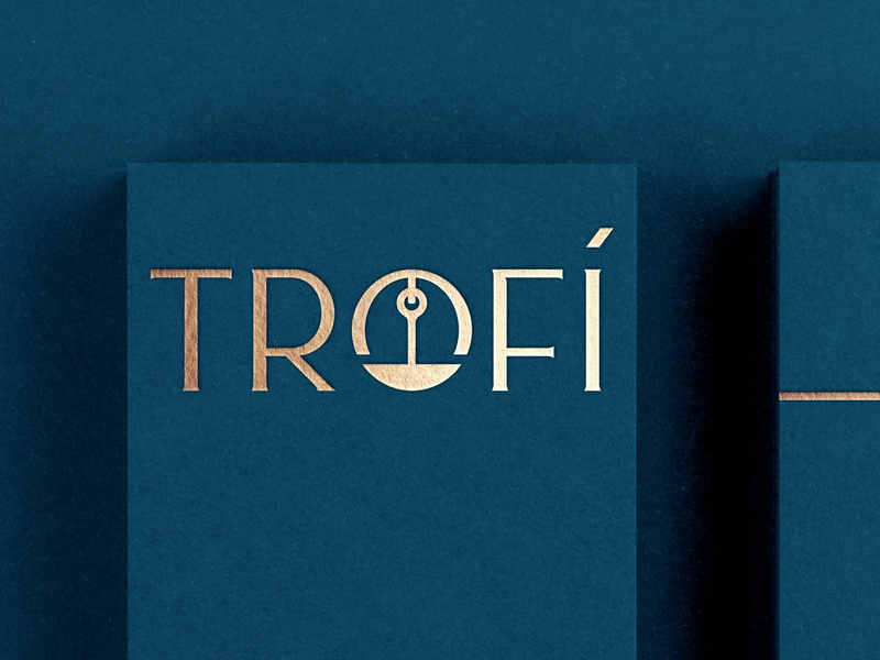 Trofí Restaurant elegant shadow window plate canada greek restaurant hanger food lettering custom typography logotype logo trophy