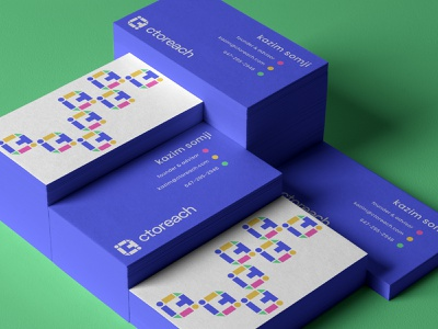 CTO CISO dna green blue stationery letterhead business card network colorful element blocks building logo it ciso cto