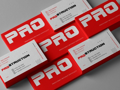 PROS heavy industrial red logotype typography identity abc american building construction business card logo