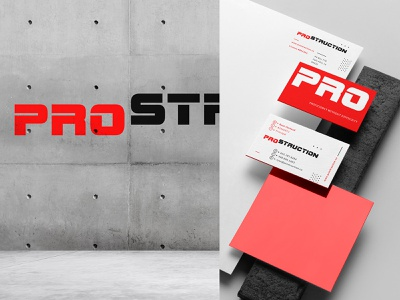 PROS 2 typography red logotype logo industrial identity heavy construction business card building american abc