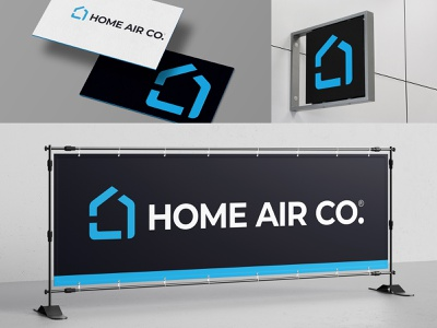 HAC fresh monoline icon house american collar blue industry condition cooling heating hvac air home