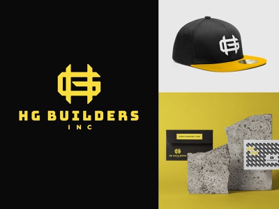 HGB INC yellow black initials card letter envelope hat cap construction builders building hg monogram logo