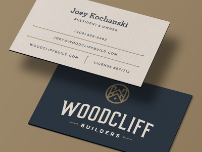 WB business card american retro wood circular seal round initials roof house construction building logo