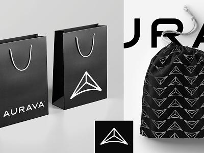 Aurava Eyewear fashion pattern light dawn black typography glasses pouch bag packaging style luxury eyewear logotype logo