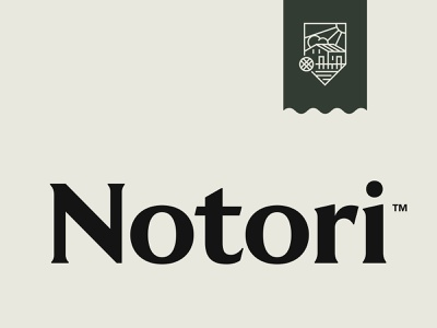 Notori house environment green nature water sun paper quality emblem shield mill stone notebook typography logotype logo