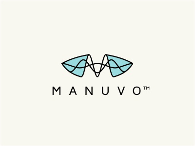 Manuvo logo tech wave black blue green line initials glass linear abstract future