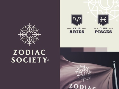 Zodiac Society fashion guide compass astrology movement tribe club shield pisces aries flag network society sign zodiac star sun moon logo