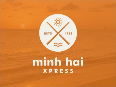 MHX logo restaurant sun sea sticks cuisine wave circular rounded food orange