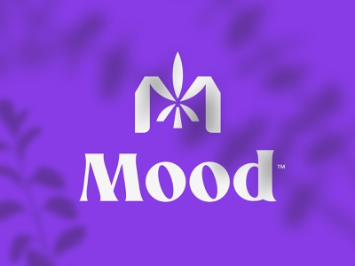 Mood ribbon vibe luxury sophisticated elegant purple mood monogram leaf cannabis marijuana nature plant grass cbd logo