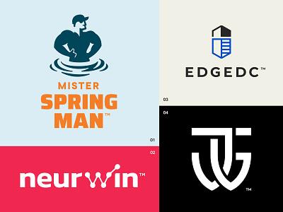 Logo Roundup Sheet shield winner spring building athletics athlete personal advisor sports training initials monogram center data cleaning human typography logotype logo