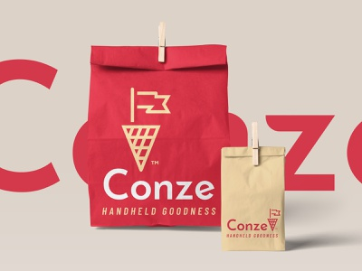 Conze classy urban warm street gourmet taste pole flag cone waffle food bag packaging logo