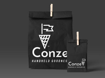 Conze classy urban warm street gourmet taste pole flag cone waffle food bag packaging logo