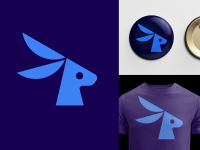 Rabbz ears smart speed blue t shirt badge rabbit animal logo