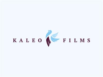 Kaleo Films logo animal bird dove wings film purple blue media initials