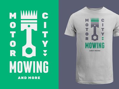 MCM environment work crest t shirt steel green crown grass cut piston city motor mowing landscaping landscape logo