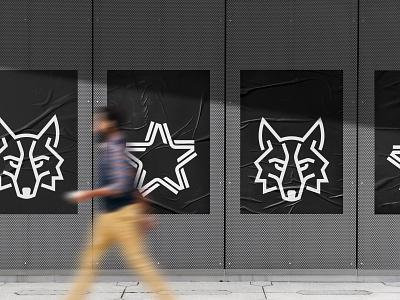 Wolf&Star monoline crossfit fitness street active urban wear fashion food health sports training wolf animal symbol star logo