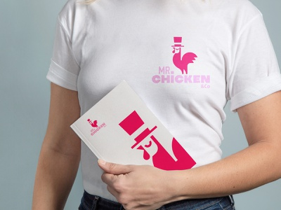 MR.Chicken&CO hat t shirt packaging class elegant gentleman style nutrition delivery restaurant company mister rooster chicken food animal logo