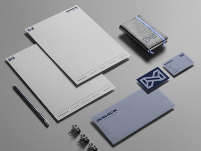 NB stationery business card cargo collar monogram blue american construction building builders branding identity logo