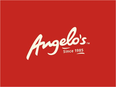 Angelo's logo logotype calligraphy handwritten pizza food retro red beige restaurant typography script custom