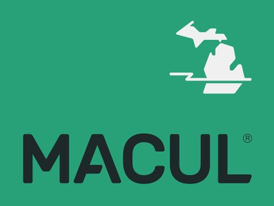 MACUL association bolt thunder map computer learning education state green typography lettering logotype logo