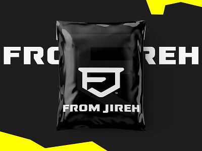 From Jireh camo black yellow bold bag parcel packaging africa style sportswear urbanwear streetwear fashion emblem monogram shield logo