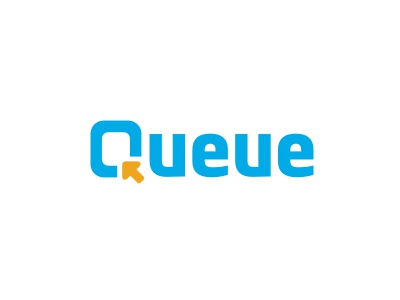 Queue logo logotype arrow blue yellow education frame school learning typography lettering initials