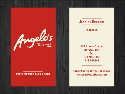 Angelo's Business Cards logo logotype red beige business card card print stationery retro food pizza calligraphy handwritten restaurant