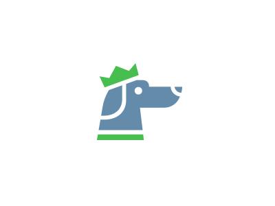 Blue Dog logo animal dog crown blue green network royal care collar pet