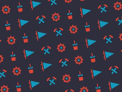HAD sailing icons pattern youth education flag tool rudder bucket blue nautical navigation