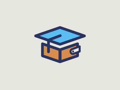 EduBiz logo wallet money education hat college school university business icon financial loan