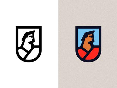 Superfather man human shadow strong dad father hero super shield emblem crest logo