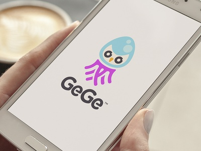 GeGe glow network social mobile virtual jelly owl squid mascot creature animal logo