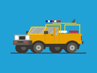 Baywatch Truck car wheel show tv lifeguard yellow service truck vehicle fanart illustration
