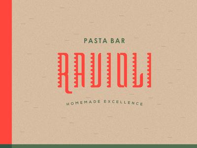 Ravioli red green restaurant bar pasta food typography lettering custom logotype logo