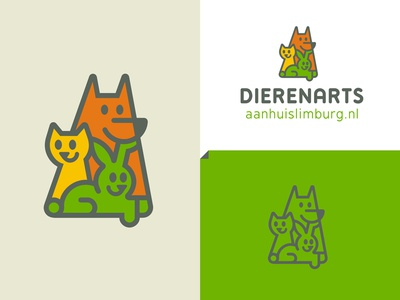 DAHL happy care smile pet colorful monoline veterinary rabbit dog cat animal logo