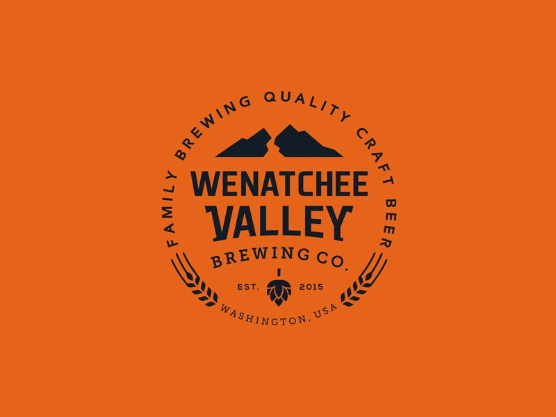 Wenatchee Valley Beer Action open crest emblem hop wheat valley river mountain label beer packaging logo