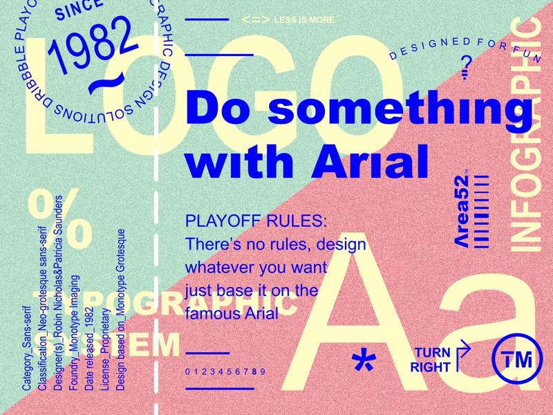 Arial Play-off poster fun green pink blue stamp playoff ticket logotype logo typography
